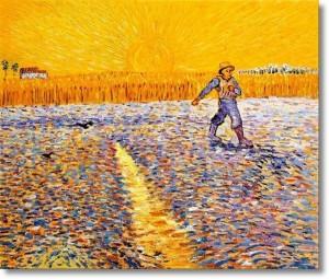 De Zaaier met zonsondergang - Vincent Van Gogh (1888)